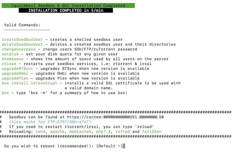 final quickbox - Erstellen Sie eine Seedbox mit Quickbox (Kimsufi, VPS ...)