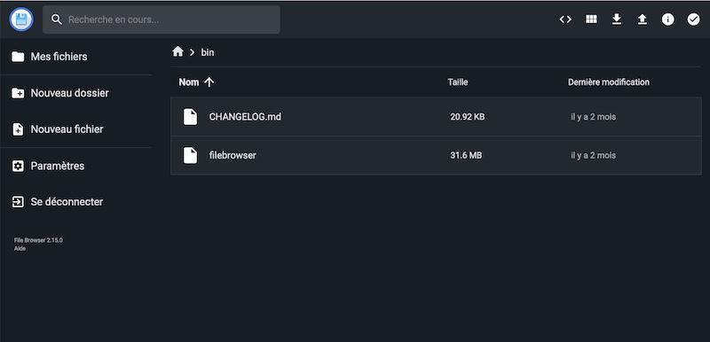 dunkles französisches Interface - Dateibrowser, DER kostenlose Dateimanager für Ihren Server ...