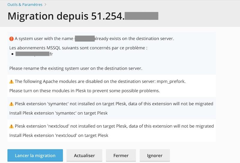 Migration starten - Plesk - Einfache Migration vom Server