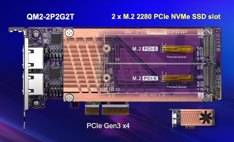 QNAP QM2 2P2G2T - QNAP QM2-2P2G2T: 2,5-GbE-Netzwerkkarte mit M.2-SSD-Steckplätzen